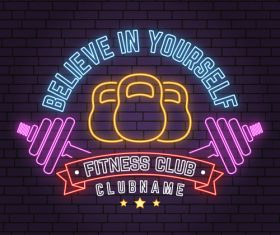Neon fitness club sign design vector 05