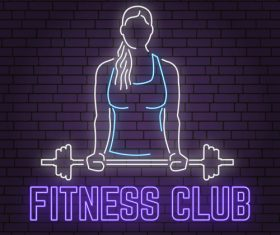 Neon fitness club sign design vector 06