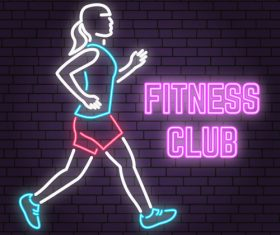 Neon fitness club sign design vector 07