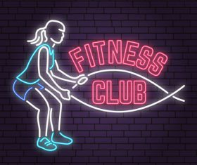 Neon fitness club sign design vector 08