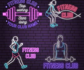 Neon fitness club sign design vector 09