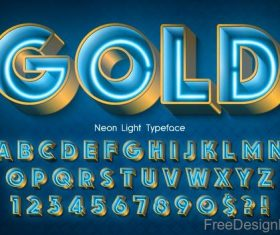 Neon light typeface vector