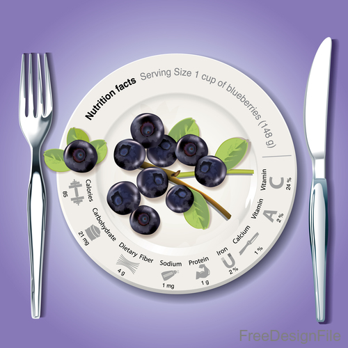 New Nutrition facts in blueberry vector