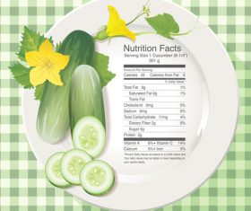 Nutrition facts cucumber vector