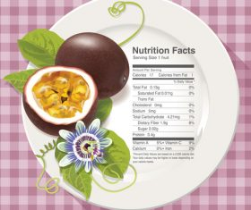 Nutrition facts passion fruit vector