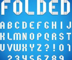 Origami white alphabet font vector