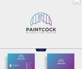 Paint cock logo with business card template vector 02
