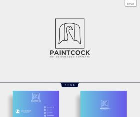 Paint cock logo with business card template vector 03