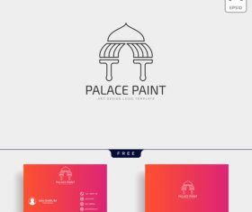 Palace paint logo and business card template vector 02