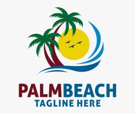 Palm beach logo design vectors