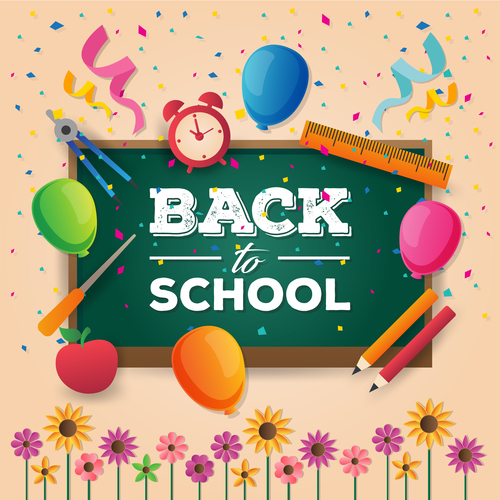 Paper art back to school vector card