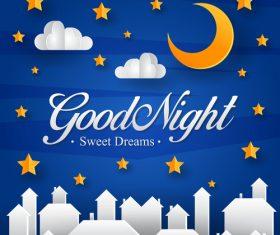 Paper art good night vector card 01