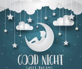 Paper art good night vector card 02