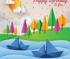 Paper art happy birthday vector card 01