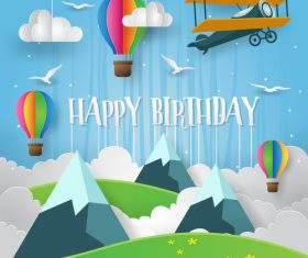 Paper art happy birthday vector card 02