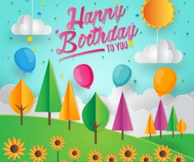 Paper art happy birthday vector card 04