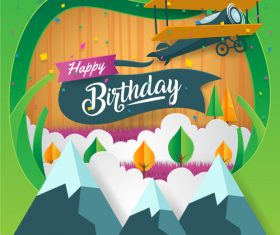 Paper art happy birthday vector card 05