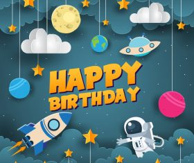 Paper art happy birthday vector card 06