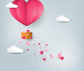 Paper hot balloon with valentines day love background vector