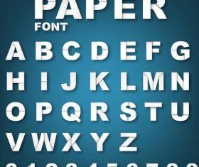 Paper white alphabet font vector