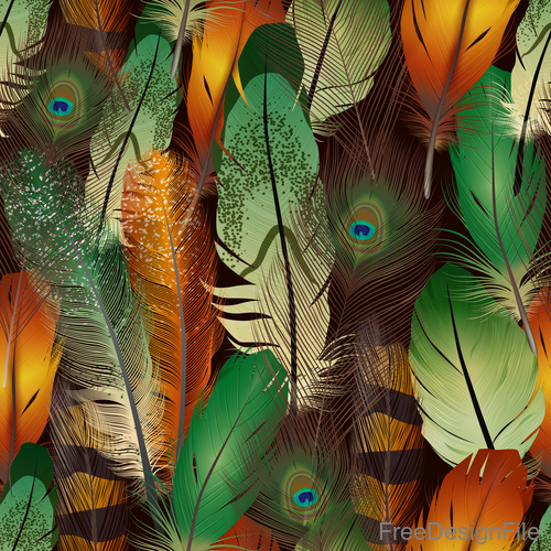 Peacock feather art background vector