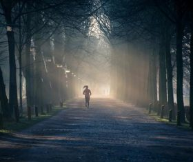 People jogging in the mist morning Stock Photo