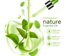 Peppermint essential oil Cosmetics vector background 01