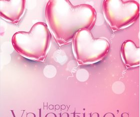 Pink air hear balloons with valentines day pink background vector 01