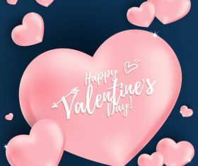Pink air heart balloon with blue valentines day background vector