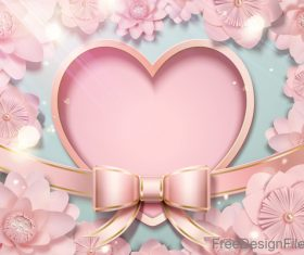 Pink flower with heart shape and bows vector