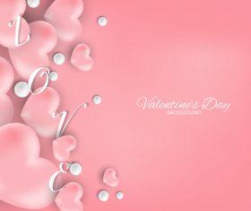 Pink heart with pink valentines day background vector