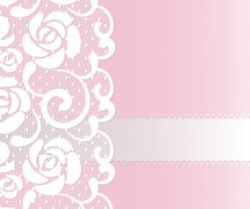 Pink lace borders vectors 03
