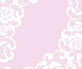 Pink lace borders vectors 04