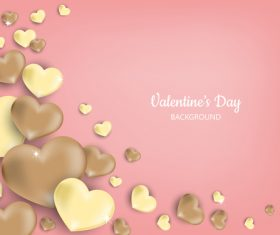 Pink valentines day background with gloden heart vector