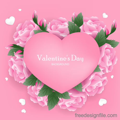 Pink valentines day background with pink flower vector