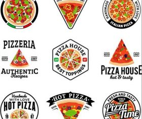 Pizza badge with labels vintage vector set 01