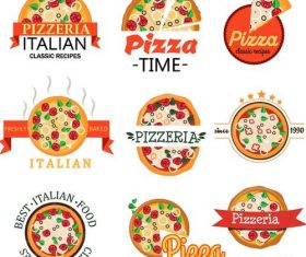 Pizza badge with labels vintage vector set 02