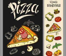 Pizza drawing with chalk on black Board vector