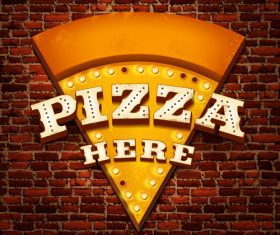 Pizza neon sign with wall background vetor