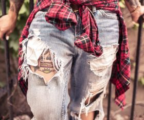 Plaid Shirt Jeans Stock Photo