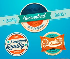 Premium quality labels with badge vector material
