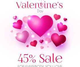 Purple air heart with valentines day sale background vector