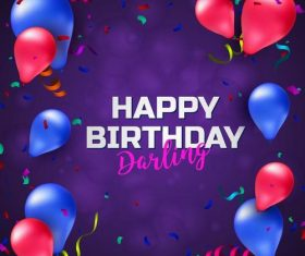 Purple birthday card with colored balloons vector