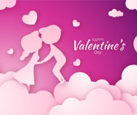 Purple valentines day background with pink heart cloud vector