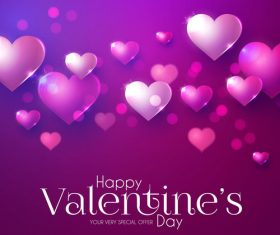 Purple valentines day card vector design vector 01