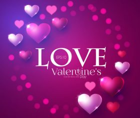 Purple valentines day card vector design vector 02