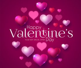Purple valentines day card vector design vector 03