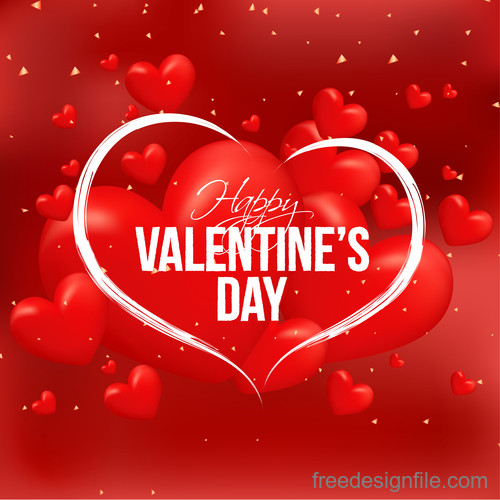 Red air heart with valentines day background vector