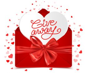 Red bows with valentines day envelope vector