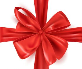 Red bows with white background vector 01